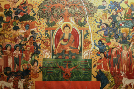 O Exército de Mara desafiando a Iluminação de Buda